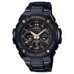 ショッピングShock G-SHOCK Gショック ジーショック G-STEEL Gスチール カシオ CASIO 電波ソーラー アナデジ 腕時計 ブラック ゴールド GST-W300BD-1AJF 国内正規モデル