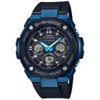ショッピングShock G-SHOCK Gショック ジーショック G-STEEL Gスチール カシオ CASIO 電波ソーラー アナデジ 腕時計 ブラック ブルー GST-W300G-1A2JF 国内正規モデル
