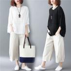 森ガールTシャツガウチョパンツ九分丈体型カバーゆたり大きいサイズカジュアル夏物ママ30代40代50代