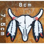 刺繍 アイロンワッペン・アップリケ【バッファロー】インディアン ネイティブ 水牛 エスニック