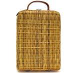 かごバッグ かごバック ヴィンテージ物 ビンテージ 籐製バスケットバッグ 小寸 鞄の聖地兵庫県豊岡市製 デットストック