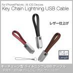 Lightning ライトニング USB ケーブル キーチェーン型 コンパクト 15cm レザー iPhone iPad 急速充電 おしゃれ