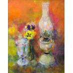 大歳克衛「ランプと花」油彩画