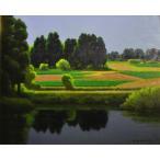 大森祥吾「春の池畔」油彩画
