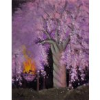 奥西賀男「夜桜(八坂神社)」油彩画