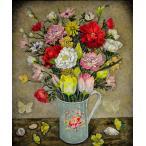 服部 和三郎「蝶と貝殻と花々」油彩画