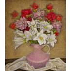 服部 和三郎「百合と薔薇」油彩画
