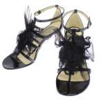 ショッピングシャネル ストラップ シャネル サンダル カメリア アンクルストラップ ココマーク レディースサイズ37 1/2 CHANEL 靴 パテント エナメル フラワー