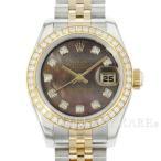 ロレックス デイトジャスト 10Pダイヤ ダイヤベゼル ブラックシェル文字盤 SS×K18YGイエローゴールド G番 179383NG ROLEX 腕時計 レディース