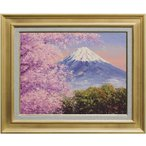 西村拡人 『桜と富士(芝川町より)』 油絵・油彩 F6(6号)