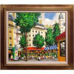斉藤 要 『パリのカフェ』  油絵・油彩画 F10(10号)