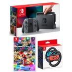 即日発送分【当社限定品】おまけ付★新品 Nintendo Switch Joy-Con (L)グレー +マリオカート8 デラックス+Joy-Conハンドル 2個セット