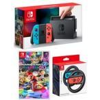 即日発送【当社限定品】おまけ付★新品 Nintendo Switch Joy-Con (L) ネオンブルー/ (R) ネオンレッド+マリオカート8 デラックス+Joy-Conハンドル 2個セット