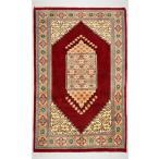 手織りパキスタン絨毯 中心柄デザインの絨毯 77×123 cm 玄関マット レッド