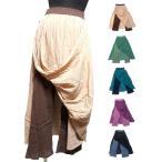 シワ加工エスニックパンツ2枚重ねスカート風パンツエスニック衣料エスニックアジアンファッション