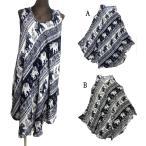 ゾウさん柄エスニックワンピースAラインエスニック衣料エスニックアジアンファッション