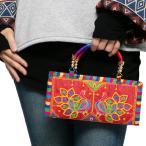 エスニック長財布ミニバッグハンドバッグ刺繍レディースクラッチバッグお財布ファッションエスニックバッグアジアンバッグかわいい