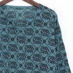 エスニッククルタシャツブラウスメンズレディースエスニックファッションアジアンファッションユニセックスゆったり大きめゾウアッシュブルー秋