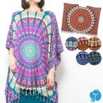 エスニックポンチョレディース6カラーエスニックファッションアジアンファッション曼荼羅ゆったり体型カバー大きいサイズヒッピー派手ダンス衣装