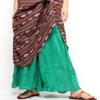 エスニックガウチョパンツワイドフレアレディースグリーンエスニックファッションアジアンファッションスカンツかわいいおしゃれ無地