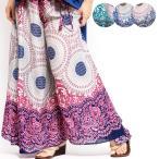 エスニックパンツワイドフレアレディースエスニックファッションアジアンファッションフレアパンツガウチョパンツペイズリー花柄フラワーダンス