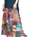 エスニックロングスカートパッチワークレディースボトムスマキシ丈スカートかわいい春夏エスニックファッション
