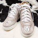 本革 コブラ レザー スニーカー 22cm ファッション 靴 レディース靴 スニーカー コンバースタイプ 皮 蛇革 ヘビ革