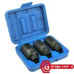 3pcハブナット用12角インパクトソケットセット 30mm 32mm 36mm N053