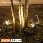 ソーラーライト LED/ソーラー パワーアップライト2個セット LGS-80/屋外/充電式/庭/シンボルツリー/梱包サイズ小