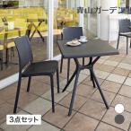 テーブルセット 屋外 家具 ファニチャー ラタン ガーデン タカショー / スクエアテーブル&ラタン調チェアー 3点セット /C