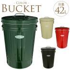 バケツ トタン ふた付 おしゃれ カラーバケツ ふた付き 大容量 42L  ゴミ箱 蓋 蓋付き ダストボックス 屋外