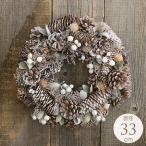 クリスマス リース 玄関 おしゃれ 飾り 壁 ドア クリスマスリース 北欧 ほんのり白い フロスティーコーン 33cm