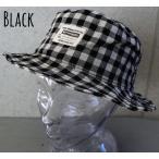(店内商品2点以上ご購入で送料無料)帽子 ワッペン付き バケット ハット ブロックチェック こなれ