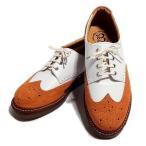 【HEROES3月号掲載アイテム】スムースホワイト×ベロアオレンジ クレープソール 国産 革靴 紳士靴 靴 牛革