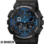 ショッピングShock G-SHOCK カシオ Gショック GA-100-1A2 ブラック ブルー CASIO G−SHOCK ジーショック 腕時計 アナデジ うでどけい
