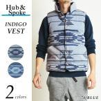 【送料無料】HUB&SPOKE ハブアンドスポーク ネイティブ/オルテガ柄 インディゴ中綿ベスト 363820 メンズ アウター ロンハーマン ベイフロー好きな方に