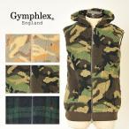 ショッピングジムフレックス ジムフレックス Gymphlex ジムフレ メンズ ダブルジップ フード付きボアベスト 迷彩 カモフラージュ柄 J-0855CH