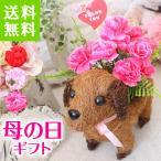 【 早割 予約】ワンちゃんバスケット(ダックスフンド風)  カーネーション  母の日 送料無料 ギフト女性 可愛い 造花 お誕生日 贈り物 結婚祝い お祝い 早割り