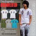 Bernings-shoTシャツ 半袖Tシャツ メンズ Tシャツ ヘンリーネック オルテガ柄 ネイティブ柄 オルティガ柄 ワッフル地