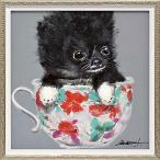 おしゃれでかわいい壁掛け飾り 絵画 お祝い 記念品 |オイル ペイント アート 「ティーカップ ドッグ2(Sサイズ)」 壁掛用 OP-07002