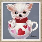 おしゃれでかわいい壁掛け飾り 絵画 お祝い 記念品 |オイル ペイント アート 「ティーカップ ドッグ4(Sサイズ)」 壁掛用 OP-07004