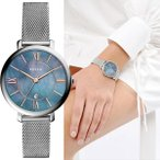 FOSSIL Jacqueline フォッシル ジャクリーン シルバー メッシュバンド ブルー マザーオブパール  レディース 腕時計 es4322