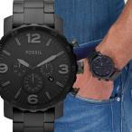 FOSSIL フォッシル NATE Metal ビッグフェイス ブラック グレー メンズ クロノグラフ JR1401 腕時計