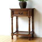 電話台 おしゃれ コンソール サイドテーブル 引き出し 木製 花台 オークスタンドキャビネット