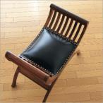 レザーチェア 本革 いす イス 玄関椅子 スツール 木製 天然木 アジアン家具 本革バリクラブチェアー