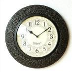 壁掛け時計 掛け時計 掛時計 壁掛時計 おしゃれ 木製 アンティーク クラシック エレガント アジアン インテリア 彫刻 丸 ラウンド ウォールクロック カービング