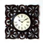 壁掛け時計 掛け時計 掛時計 壁掛時計 おしゃれ アジアン アンティーク クラシック モダン 木製 ウォールクロック ローマ数字 ウッドスクエアクロック A