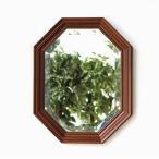 八角鏡 壁掛けミラー ウォールミラー アンティーク クラシック 木製 イタリア ウッド八角ミラーA