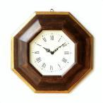 壁掛け時計 壁掛時計 掛け時計 掛時計 木製 イタリア製 八角形 おしゃれ シンプル モダン 天然木 ブラウン ゴールド ウッドウォールクロック 八角