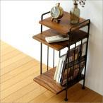サイドテーブル おしゃれ 木製 アジアン ベッドサイドテーブル ナイトテーブル スリム アンティーク 収納 棚 天然木 アイアンとシーシャムのサイドテーブル A